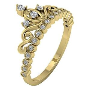 I1 G 0.35 Ct Round Diamond Designer Crown Wedding Ring Appraisal 14K Yellow Gold