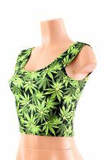 MEDIUM Leafy Green Cannabis Pot Ganja Weed Sleeveless Crop Top Ready To Ship!