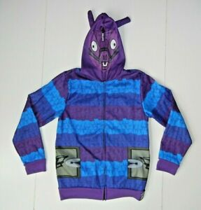 FORTNITE Purple/Blue Warm LLAMA HOODIE Gamer Sweatshirt Coat Jacket Kid YOUTH L
