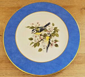 Assiette Porcelaine de Limoges Dorée à L'Or Fin Bleu Décors Oiseaux Fleur ATH