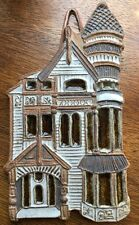 Victoria Littlejohn Victorian House Wall Hanging Hand Made Pottery Cork Back Vtg