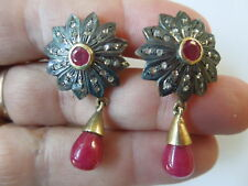 Victorian India Rosecut diamonds/Ruby Silver 14kgold vermeil postdrop earrings
