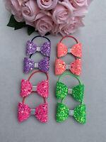 Girls Beautiful Bundle Handmade Dusky Rose GoldGlitter Pigtail Bobbles//fringe