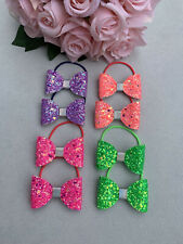 Girls Beautiful Bundle 4 Pairs Of Handmade NEON Glitter Bow Pigtail Bobbles