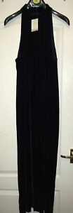 NEW J F W Sleeveless high neck Evening Dress - Velvet - dark purple - size 14