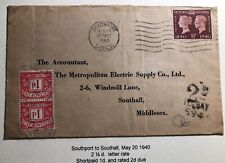 1940 Southport England Commercial Postage Due Cover To Southall