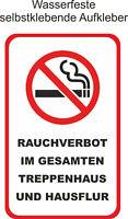 ab 5x8cm Aufkleber Nicht Rauchen verboten im Treppenhaus Rauchverbot im Flur