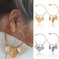 Boho Women Gold Silver Geometric Circle Statement Drop Earrings Dangle Jewelry
