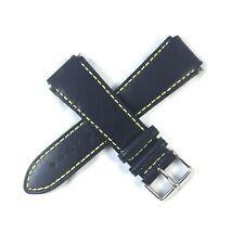 TechnoMarine 20mm Genuine Leather Watch Strap 7374 Black with Yellow Stitching