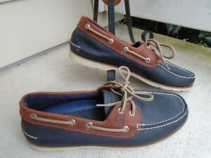 NWOB Sperry Top Sider navy/brown leather mens casual boat shoes sz 11W