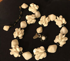 Miriam Haskell Vintage Designer Signed Black/White Bead Flower Clasped Necklace