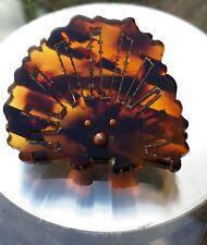 Charming Hedgehog Faux Tortoise shell plastic brooch badge