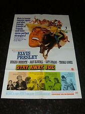 "STAY AWAY JOE Original Movie Poster, ELVIS, 27"" x 41"", C7.5 Very Fine Minus (-)"