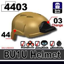 Dark Tan BU1  (W295) Army Assault Helmet compatible w/toy brick minifig