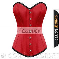 Completo acero con estructura torso largo cordón trasero Overbust Bustier Rojo satinado corsé Korset