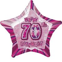 "20"" Pink Happy 70th Birthday Prismatic Foil Helium Balloon Party Decorations"