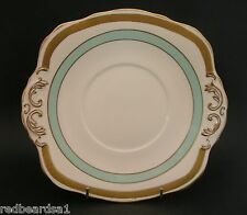 HM Sutherland Gold Turquoise Vintage Art Deco English China Cake Serving Plate