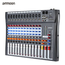 12 Kanäle Mic Line Audio Mixer Mischpult USB 3-Band EQ 48V Phantomspeisung A4Q8
