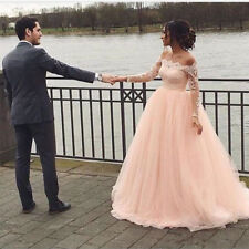 Pink A Line Wedding Dresses Off Shoulder Bridal Gowns with Long Sleeves Custom