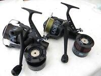 PAIR Lineaeffe All Black 60 System  Free Spool Carp fishing reels + spare spools