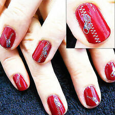 NEW ZIP STICKERS TRANSFER NAIL ART ZIPPERS BLING