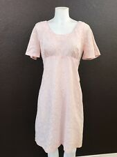 Vintage 70s Pink Floral Short Sleeved Dress Size M