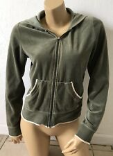 AMERICAN EAGLE Womens Size Large Full Zip Velour Hoodie Jacket Hooded Green