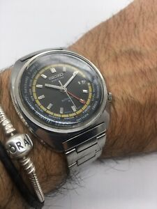 """Rare Vintage Seiko 6117 6400 """"World Time"""" grey/black/yellow Made In Japan Beauty"""