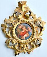 Antique Porcelain Painting Madonna Christ Gilt Wood Easel Frame 14cm tall
