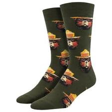 Socksmith Men's Crew Socks Smokey The Bear Face Forest Animal Novelty Footwear