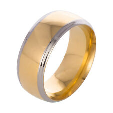 8MM Men Women Stainless Steel Black Gold Band Ring Wedding Engagement Size 6-13