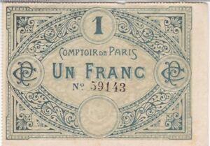 RARE BILLET DE NECESSITE 1 FRANC COMPTOIR DE PARIS