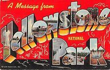 Large Letter Linen, Yellowstone Park Antique Postcard (T578)