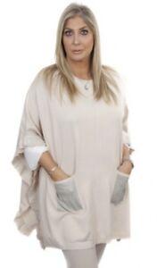 Crystal Embellished Pockets Frill Poncho Super Soft One Size Malissa J Stone