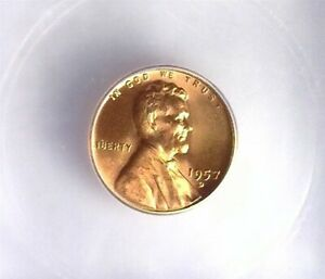 1957-D LINCOLN CENT ICG MS 66+ RD LISTS FOR $55!!