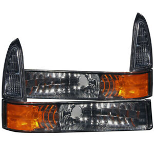 ANZO 2000-2004 Ford Excursion Euro Parking Lights Smoke w/ Amber Reflector