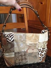 Coach Carly Signature C Gold   Animal Print Patchwork Hobo Shoulder Bag 25f7ead21a144