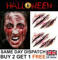 Halloween Zombie Scars Tattoos Fake Blood Cuts Scar Wound Costume Make-Up Kit UK