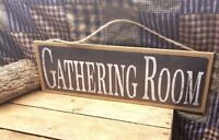 """Rustic Worn Chalkboard Style Gathering Room  Sign  Wall Decor Plaque 15""""x5"""""""