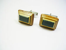 VINTAGE WOOD CUFFLINKS HANDMADE MULTI LAYER CUFF LINKS CAPE BRETON ISLAND CRAFTS