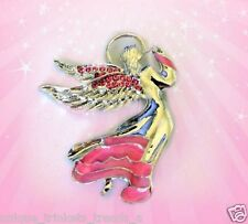 Pin Mothers Day Gift For Mom Her Silver Angel Rose Pink Enamel Rhinestone Brooch