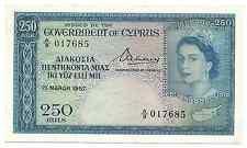 Cyprus Banknote 250 Mils 1957 P33 Key Date gVF++--aXF Queen Elizabeth Rare Free