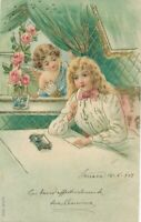 Girl Thinking with Angel Looking On 1902 Postcard - udb