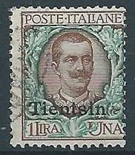 1917-18 UFFICIO POSTALI IN CINA TIENTSIN USATO FLOREALE 1 LIRA - W008