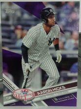 2017 TOPPS SERIES 1 TOYS R US PURPLE BORDER PARALLEL CARD OF AARON HICKS NO. 181