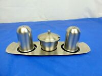 Vintage Stainless Steel Cruet Set Salt & Pepper Shaker with Mustard Pot on Tray