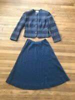 Pendleton Vintage Women's Suit Blazer Skirt Set Size 10/12 Plaid Virgin Wool