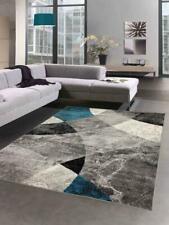 Tapis Abstrait pour Salon Design moderne avec Losanges ondulés & marbré gris bl