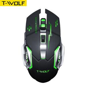 T-WOLF Mouse Gaming Wireless da Gioco Senza Fili LED Ricaricabile 2.4G New E7P6