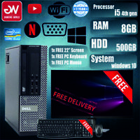 """OFFER! DELL OPTIPLEX SFF PC COMPUTER I5 4GEN 8GB 500GB 22"""" FREE KEYBOARD + MOUSE"""